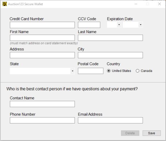 Credit Card Screen